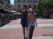 Bare boobs blonde caned in public