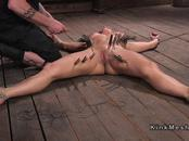 Tied up blonde got big tits whipped