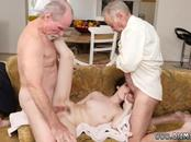 Old man gets blowjob and watching couple first time Frannkie heads