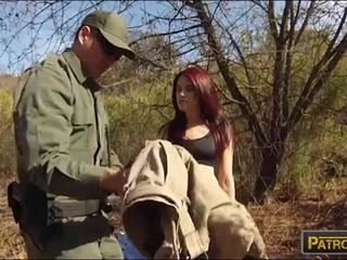 Red haired babe slammed at the border by nasty BP officer