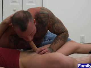 Stepdaddy carries stepson to his bedroom and fucks anal