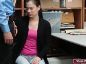 Bobbi Dylan gets her wet pussy fucked by officers in the office