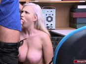 Busty blonde thief gets fucked by horny male officer