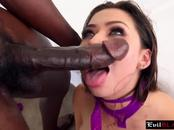 Busty brunette white chick riding long black dong