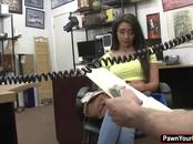 Lilly Hall is a sexy brunette who fucks a pawn dude for cash