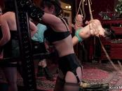 Suspended slave gets zappered in party