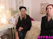 Teen cuties celebrate their graduation with a lesbo action