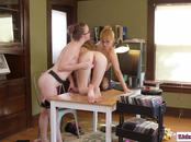 Blonde babe joins librarian and assistant in 3some pussylicking