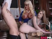Blonde mom and teen  banged in the kitchen
