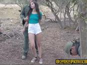 Pale cutie Taylor Reed handcuffed and banged against a tree