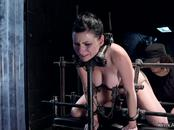 Brunette in doggy device is anal hooked