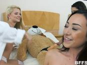 Teen bffs all fuck this big teddybear with a strapon