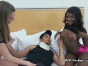 Three besties twerking on friends thick dick