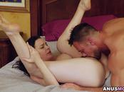 Johnny slides his cock inside Danas sphincter