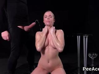 Piss sex queen dives in pee and fucks hard