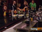 Swingers get together at a bar to have a pre party celebration