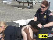 Pervert is caught red handed and taken to a rooftop by horny milf cops