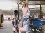 Three cowgirls and one cock at the barn