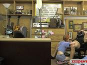 Petite teen drilled by nasty pawn keeper in his office