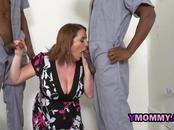 Hot milf is seduced into banging two black mechanics at the garage