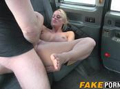 Blonde MILF with big boobs getting anal in the fake taxi cab