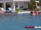 Swingers take a dip in the pool to get ready for the red room