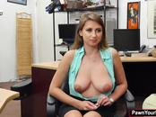 Busty babe gets fucked for cash in the pawnshop