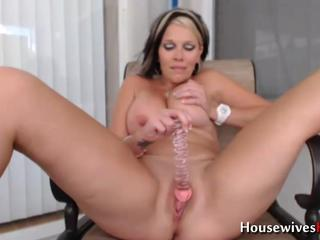 Adorable housewife masturbates pussy outdoor