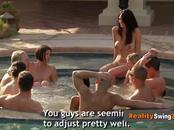 Joe and Kristen go for a dip in the hot tub with other naked couples