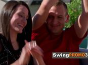 Swinger has the fantasy of a full partner swap, two guys on her wife while he is being pleased.
