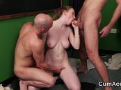 Slutty sex kitten gets jizz shot on her face eating all the semen