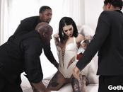 Interracial DP with Goth babe Joanna Angel