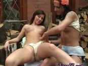 Brunette milf dildo Cutting wood and eating pussy