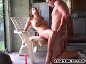 Amateur couple fucking in the kitchen with creampie
