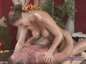 Busty babe wanks and bangs masseurs cock
