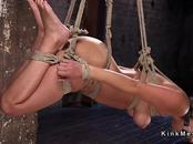 Hogtied and suspended babe tormented
