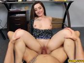 Boss Daddy flexing Bambi Brooks pussy and fucks her sideway