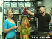 Amateur Girls Flash Tits For Cash In A Surf Shop