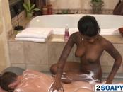 Black hottie massaging horny dude