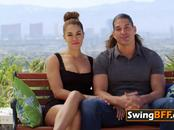 Frivolous couple engages in steamy action after signing swingers contract