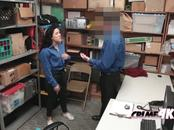 Young thief Monica gets her mouth and pussy stuffed by officer's cock