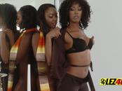 Dark chocolate beauties chanell and misty engage in hot lesbo action