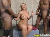 Blonde cougar Ryan Conner with big tits double penetrated by two massive black cocks