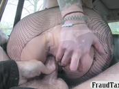 Big tits tattooed passenger fucked hard in the backseat