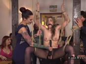 Femdom bound blonde toyed in public bar