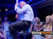 Swinger ladies surprise guys with their lap dance moves in a wild party bus home.