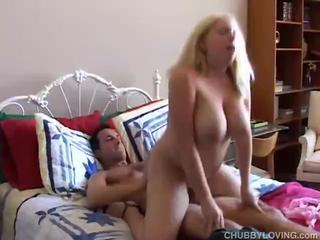 Gigantic-Titted Blonde Gal Sucks & Rides This Huge Hard-On