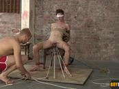 Ross getting blindfolded and tied to a chair and made to cum