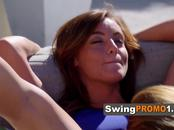 Swinger guy surprises ladies with his lap dance sexy moves before entering the Red Room.