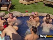 Swingers pool party goes wild with these horny swinger couples.